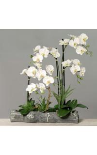 composition Phalaenopsis ORCHIDEE artificielle EN POT 90 cm blanc