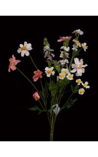 Bouquet champêtre artificiel avec rotin 26 cm