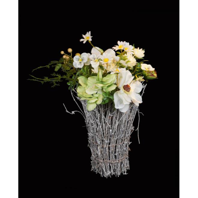 Bouquet champêtre artificiel avec rotin 35 cm