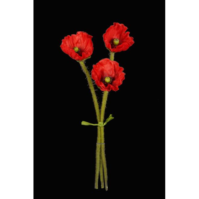 bouquet COQUELICOT artificiel 3 fleurs 40 cm