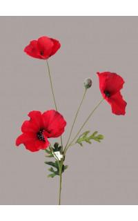 COQUELICOT artificiel 3 fleurons 65 cm rouge
