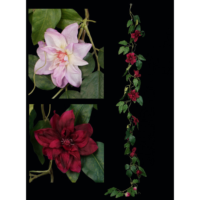 Guirlande de clématite en fleurs 160 cm