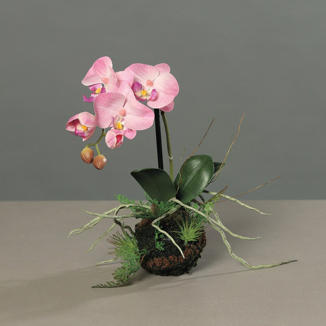 ORCHIDEE artificielle phalaenopsis sur motte 35 cm