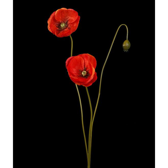 COQUELICOT artificiel 2 fleurons 1 bouton 75 cm rouge ou orange