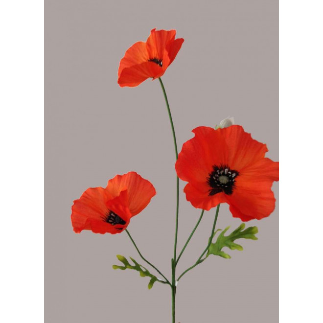 COQUELICOT artificiel 3 fleurons 65 cm orange/rouge
