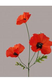 COQUELICOT artificiel 3 fleurons 65 cm orange/rouge