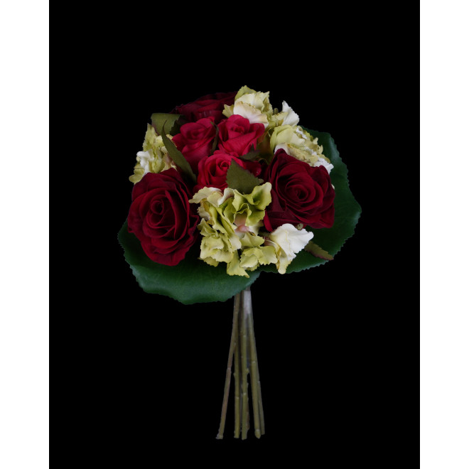 Bouquet ROSE et HORTENSIA artificiel 23 cm