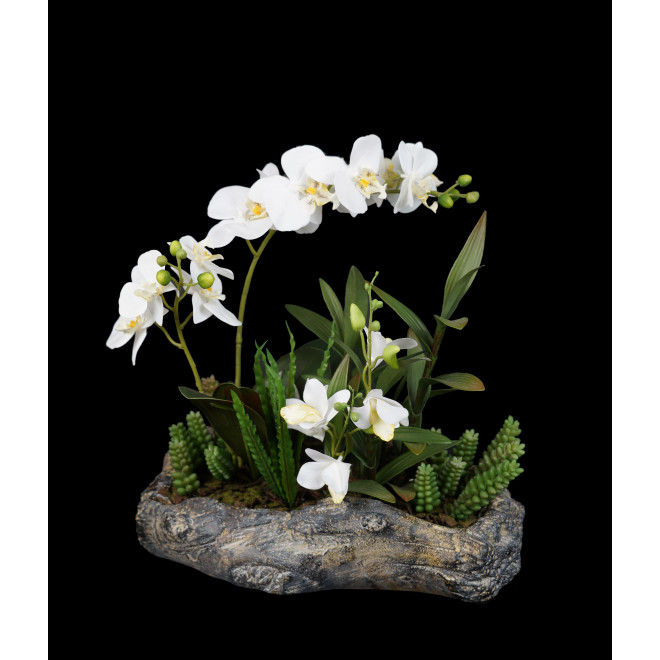 composition Phalaenopsis ORCHIDEE artificielle sur socle tronc 43 cm blanc