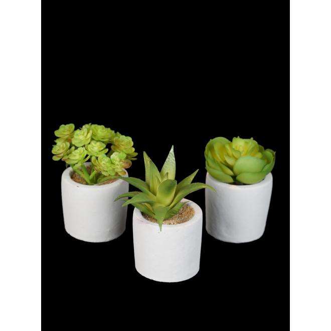 Succulente artificiel EN POT de 9 à 15 cm vendu par 3