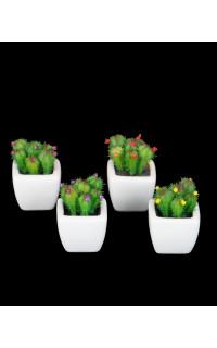 Succulente artificiel FLEURIE en pot 7 cm vendu par 4