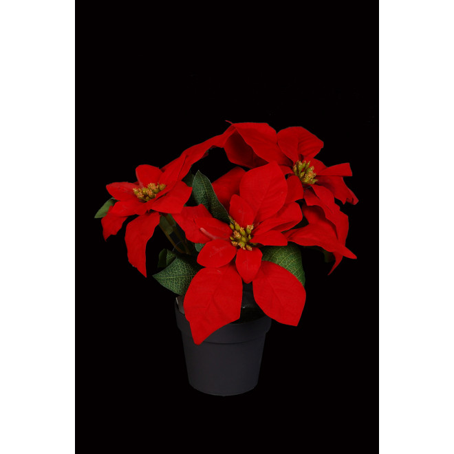 POINSETIA artificiel 26 cm en pot