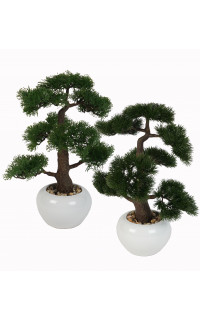 BONSAI Cyprès ou Pin artificiel 48 cm en pot blanc