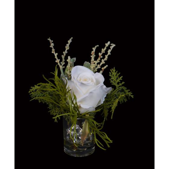 composition rose blanche artificielle dans verrerie 17 cm