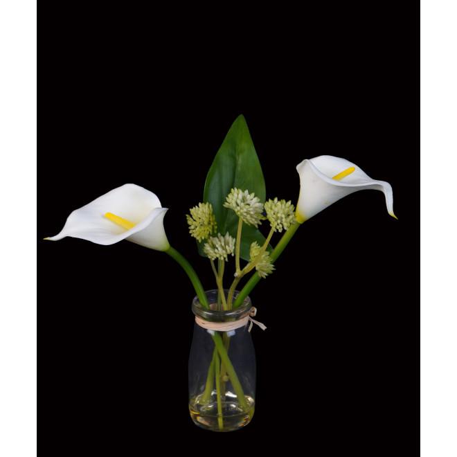 ARUM artificiel ou CALLA artificiel en pot verre 20 cm