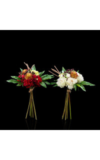 bouquet mixte PIVOINE artificiel diam 20 cm