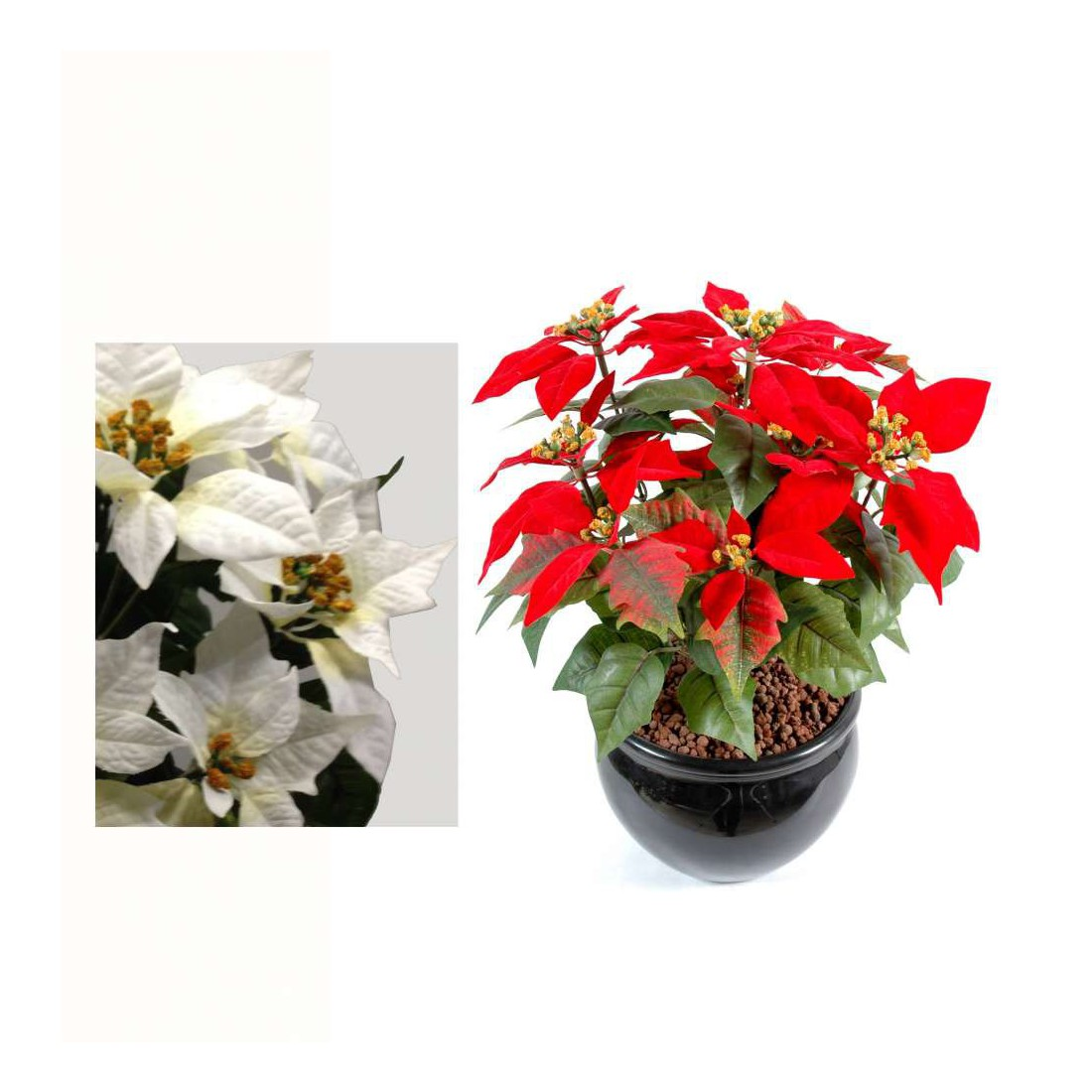Poinsetia artificiel etoile de no l 42 cm plantes artificielles reflets nature lyon - Etoile de noel artificielle ...
