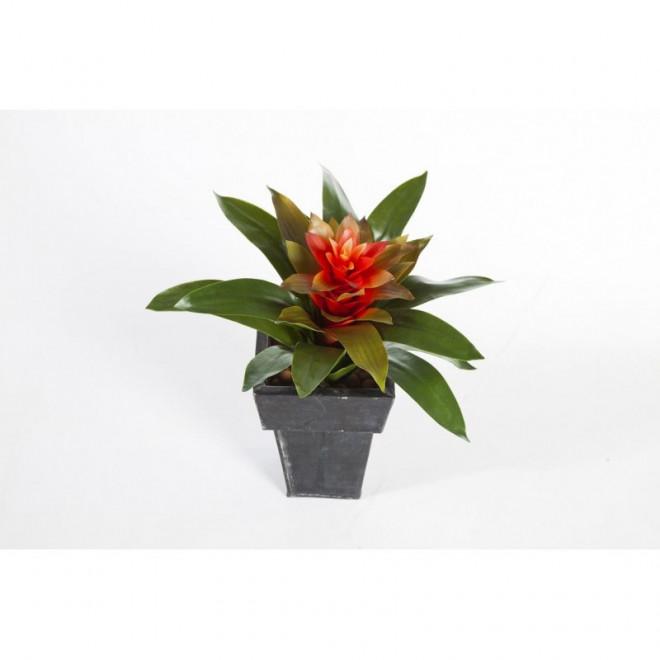 Bromelia large artificiel 33 cm fleurs exotiques for Plante bromelia