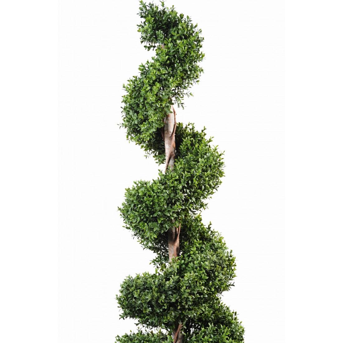 Buis artificiel spirale new 140 180 cm topiaires artificiels reflets nature lyon - Pot buis artificiel ...