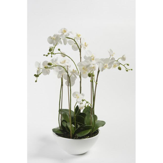 composition phalaenopsis orchidee artificielle en pot 90 cm blanc orchid es artificielles. Black Bedroom Furniture Sets. Home Design Ideas