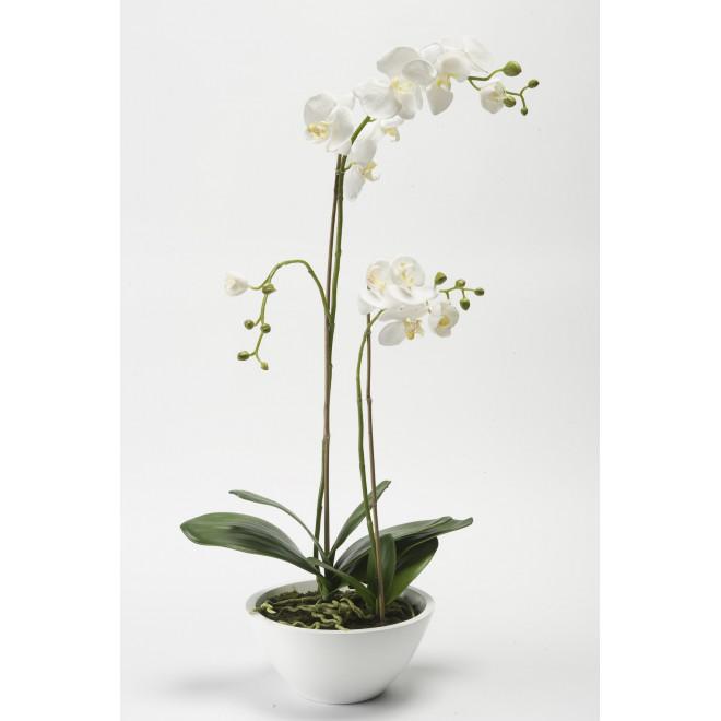 composition Phalaenopsis ORCHIDEE artificielle blanche EN POT 90 cm