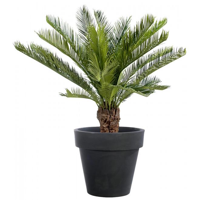 palmier en plastique 90cm avec pot noir reflets nature