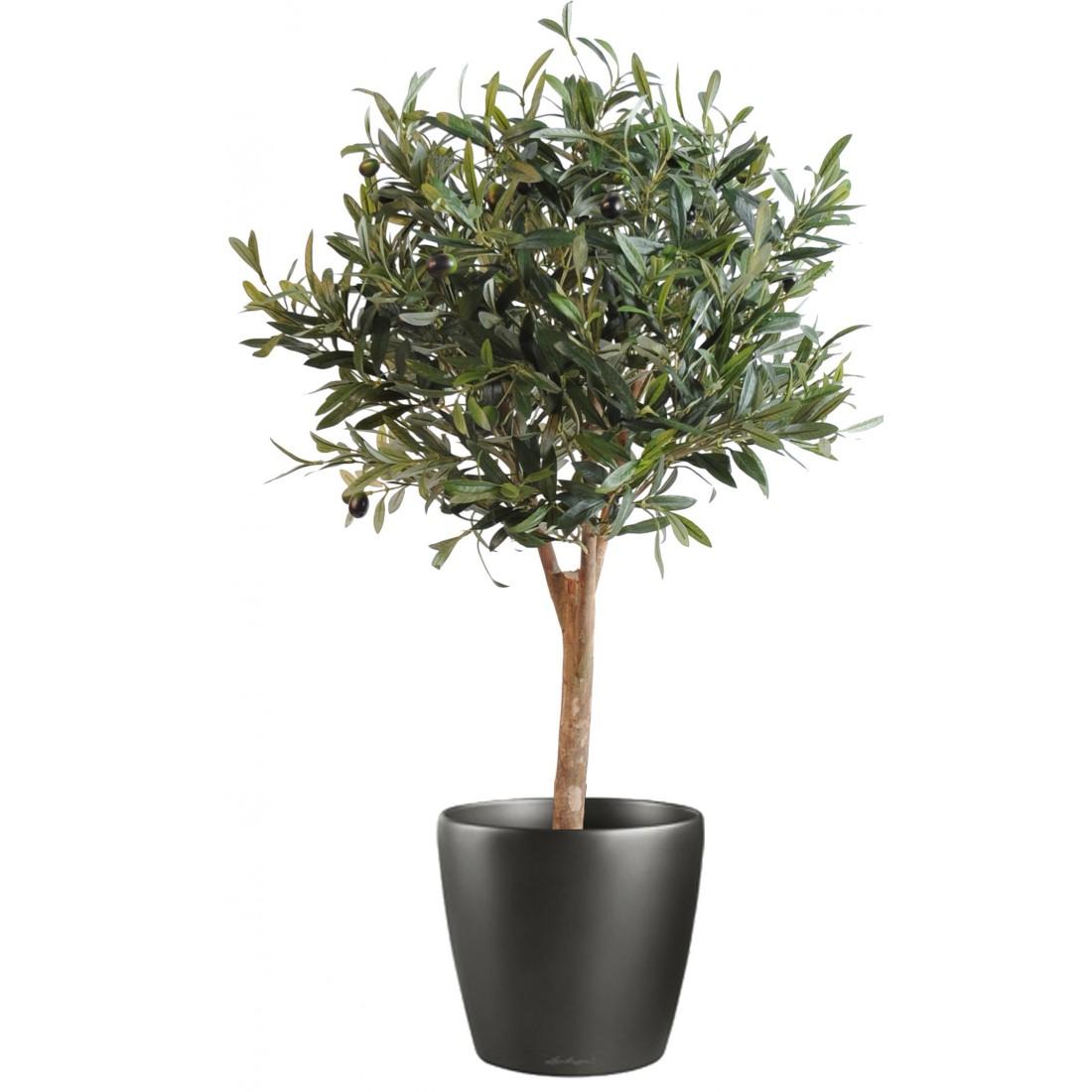 Olivier artificiel new arbre boule 90 cm arbres mediterraneens reflets nature lyon - Arbre en pot ...