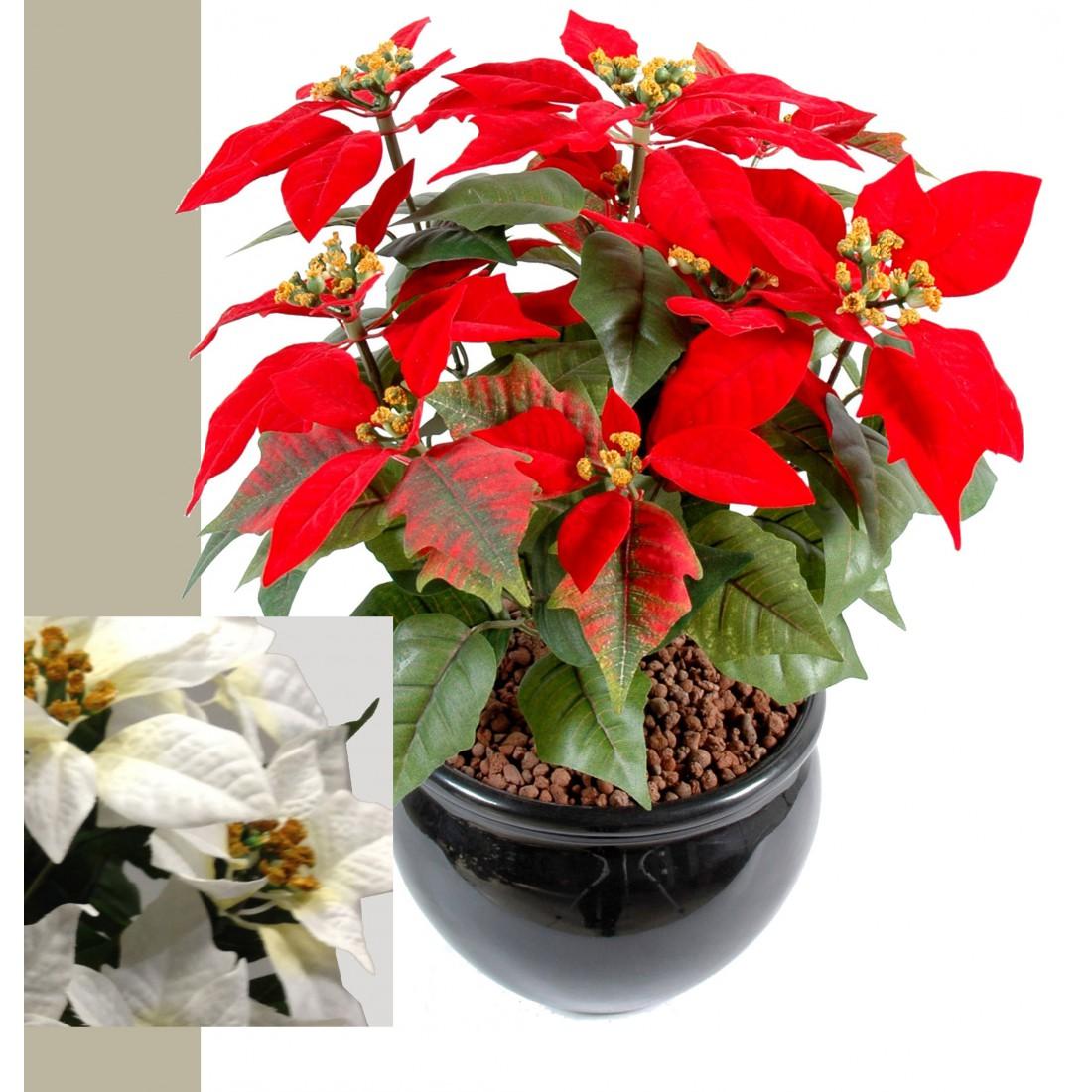 Poinsetia artificiel etoile de no l 42 cm plantes fleuries reflets nature lyon - Etoile de noel artificielle ...