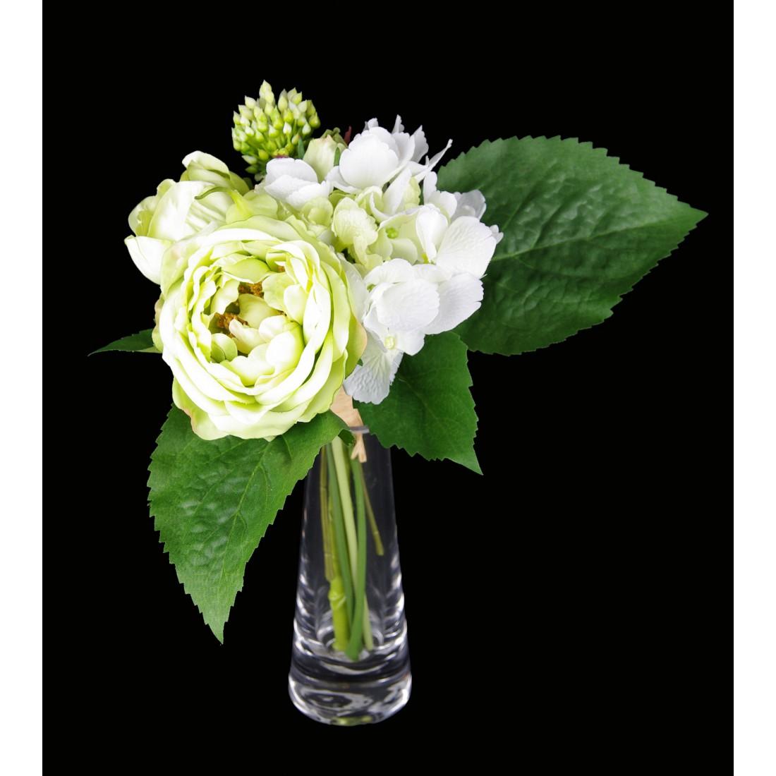 bouquet de renoncules et hortensia artificielles 28 cm piquets fleuris reflets nature lyon. Black Bedroom Furniture Sets. Home Design Ideas