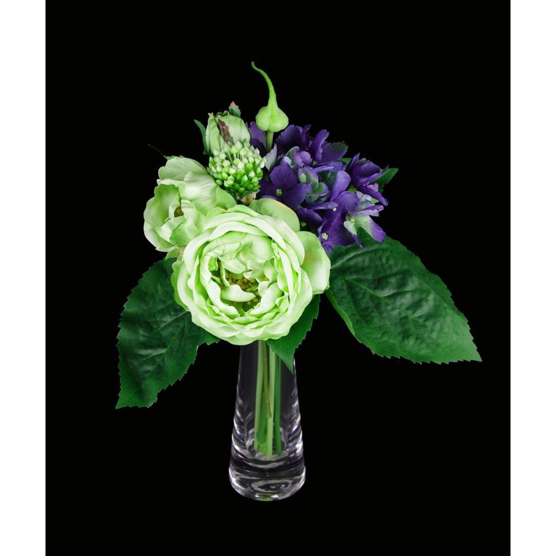 bouquet de renoncules et hortensia artificielles 28 cm bouquets reflets nature lyon. Black Bedroom Furniture Sets. Home Design Ideas