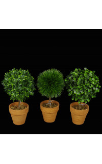 MINI TOPIAIRE artificiel BUIS ou HERBE ou THE VERT 20 cm