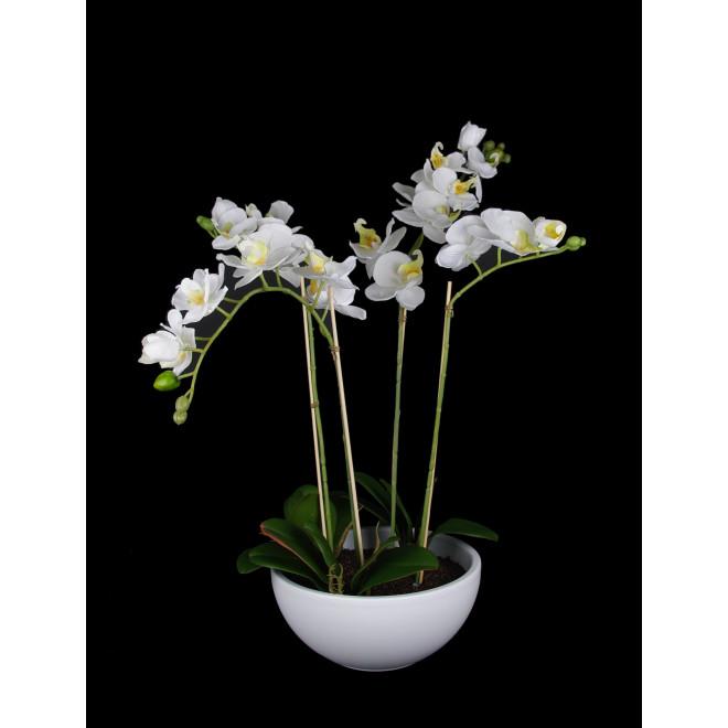 composition Phalaenopsis ORCHIDEE artificielle blanc EN POT 63 cm