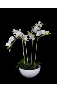 composition Phalaenopsis ORCHIDEE artificielle EN POT 63 cm blanc