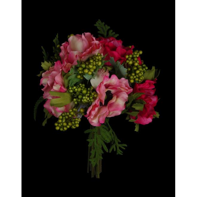 bouquet artificiel  ANEMONE ET BAIES 26 cm