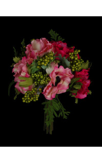 bouquet artificiel  ANEMONE ET BAIES 26 cm