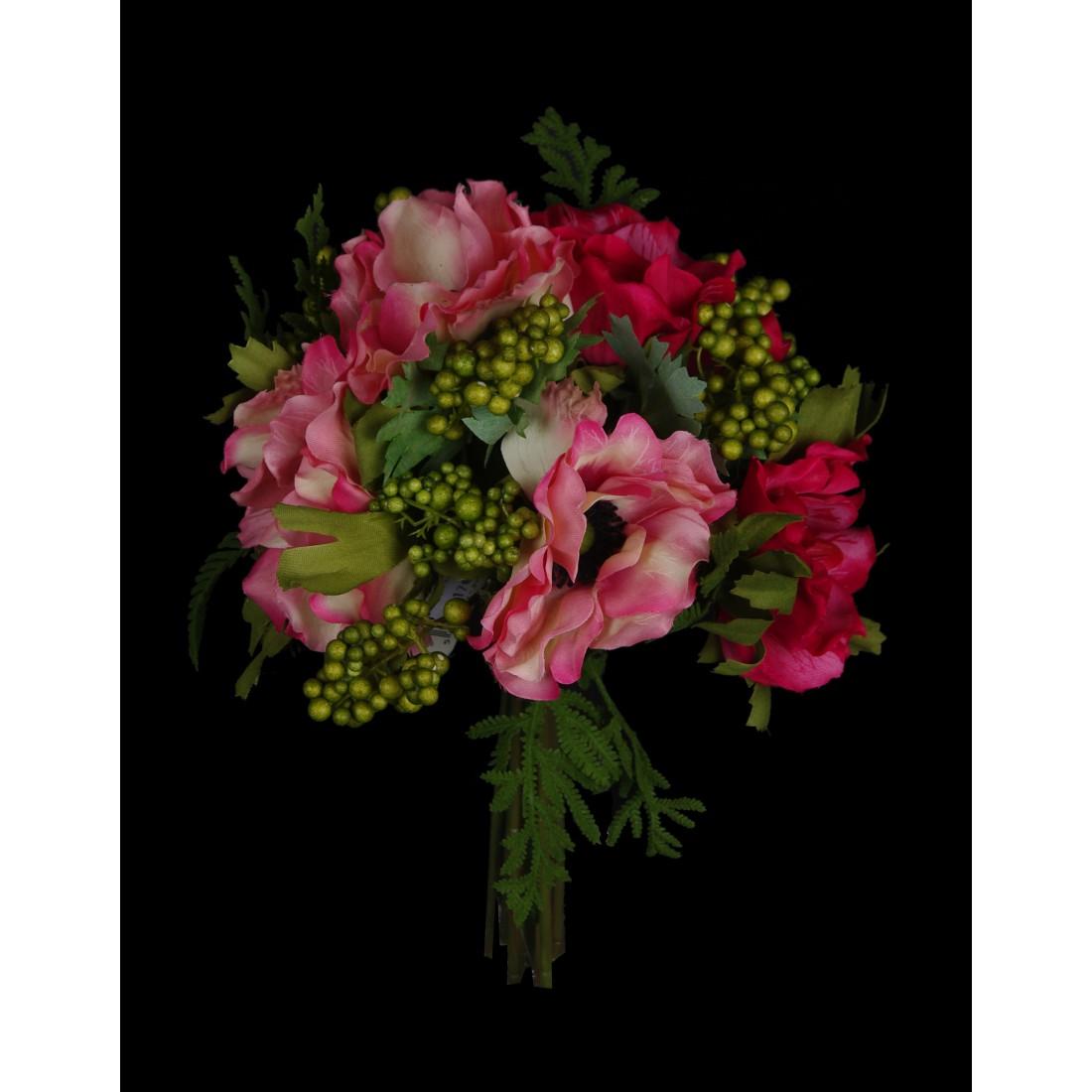 bouquet artificiel anemone et baies 26 cm bouquets et pots artificiels reflets nature lyon. Black Bedroom Furniture Sets. Home Design Ideas