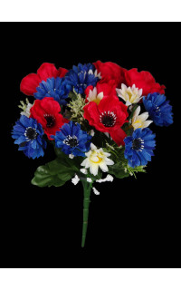 bouquet artificiel  bleu blanc rouge  22 cm