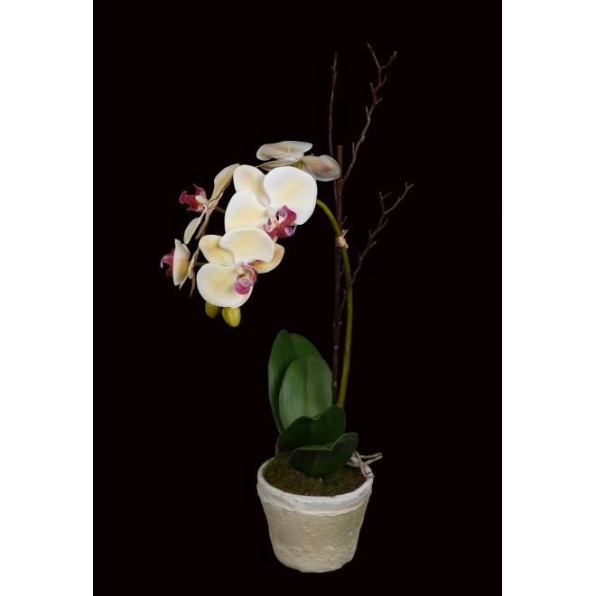 composition Phalaenopsis ORCHIDEE artificielle EN POT terre cuite 60 cm