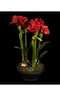 AMARYLLIS artificiel en pot 46 cm
